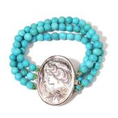 Magnesite, Cameo Silvertone Bracelet (7.50 In) TGW 100.00 cts.