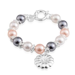 Simulated Multi Color Pearl Stainless Steel Bracelet with Charm (8.00 In)