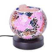 Handcrafted Multi Color Mosaic Electric Lamp with Himalayan Salt (5 in)