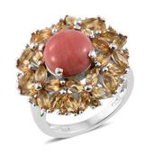 Oregon Peach Opal, Brazilian Citrine Platinum Over Sterling Silver Ring (Size 6.0) TGW 4.34 cts.