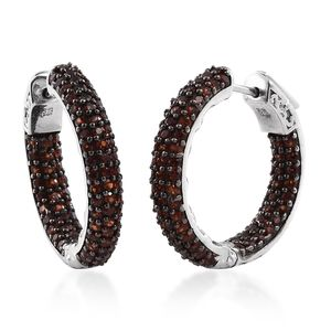 Mozambique Garnet Platinum Over Sterling Silver Inside Out Hoop Earrings TGW 4.02 cts.