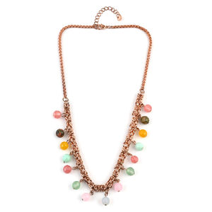 Multi Gemstone ION Plated RG Stainless Steel Drop Charm Necklace (18 in) TGW 35.00 cts.