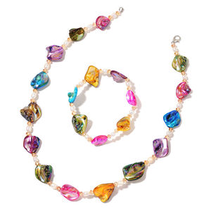 Multi Color Shell, Freshwater Pearl, Glass Silvertone Bracelet (Stretchable) and Necklace (18.00 In) TGW 216.00 cts.