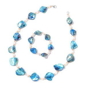 Blue Shell, Freshwater Pearl, Glass Silvertone Bracelet (Stretchable) and Necklace (18.00 In) TGW 276.00 cts.