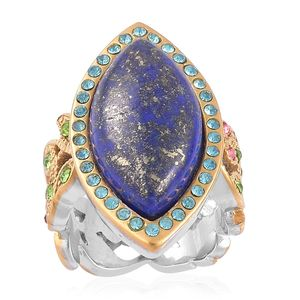 Lapis Lazuli, Multi Color Austrian Crystal ION Plated YG and Stainless Steel Ring (Size 8.0) TGW 8.90 cts.