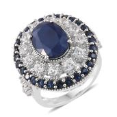 Kanchanaburi Blue Sapphire, White Topaz Platinum Over Sterling Silver Statement Ring (Size 5.0) TGW 12.10 cts.