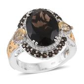 Brazilian Smoky Quartz, Multi Gemstone 14K YG and Platinum Over Sterling Silver Ring (Size 5.0) TGW 10.59 cts.