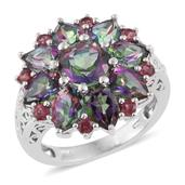Karen's Fabulous Finds Northern Lights Mystic Topaz, Orissa Rhodolite Garnet Platinum Over Sterling Silver Ring (Size 9.0) TGW 9.61 cts.
