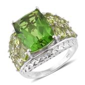 Chartreuse Quartz, Hebei Peridot Platinum Over Sterling Silver Ring (Size 8.0) TGW 14.29 cts.