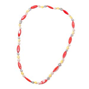 Freshwater Multi Color Pearl, Red Shell Pearl Beads Necklace (32 in)