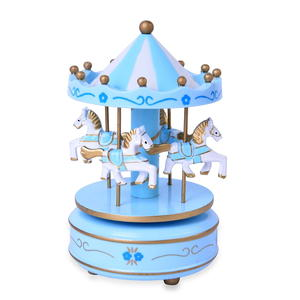 Blue and White 4-Horse Wooden Carousel Music Box (4x4x7 in)
