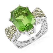 Chartreuse Quartz, Hebei Peridot Platinum Over Sterling Silver Ring (Size 6.0) TGW 15.73 cts.