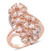 Marropino Morganite, Madagascar Pink Sapphire, Cambodian Zircon 14K RG Over Sterling Silver Elongated Floral Split Ring (Size 7.0) TGW 3.29 cts.
