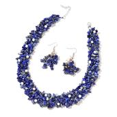 Lapis Lazuli, Freshwater Pearl Stainless Steel Earrings and Necklace (18 in) TGW 900.00 cts.