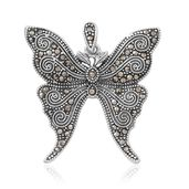 Swiss Marcasite Sterling Silver Butterfly Pendant without Chain TGW 0.72 cts.