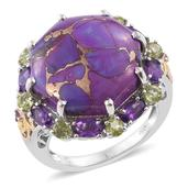 Mojave Purple Turquoise, Amethyst, Hebei Peridot 14K YG and Platinum Over Sterling Silver Ring (Size 6.0) TGW 22.91 cts.
