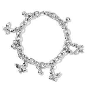 Stainless Steel Butterfly Charm Bracelet (8.50 In)