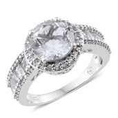 Petalite, White Topaz Platinum Over Sterling Silver Ring (Size 9.0) TGW 5.50 cts.