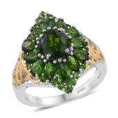 Nitin's Knockdown Deals Russian Diopside 14K YG and Platinum Over Sterling Silver Ring (Size 6.0) TGW 4.85 cts.