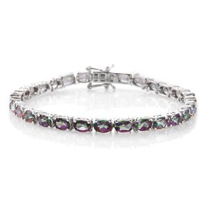 Northern Lights Mystic Topaz Platinum Over Sterling Silver Bracelet (7.50 In) TGW 15.75 cts.
