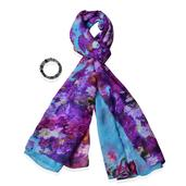 Purple & Blue 100% Polyester Scarf (68x28in) and Fluorite Bracelet (Stretchable) TGW 400.00 cts.