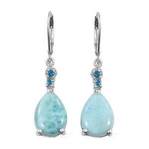 Sea Mist Larimar, Malgache Neon Apatite Platinum Over Sterling Silver Lever Back Earrings TGW 11.73 cts.
