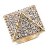 Nefertiti's Treasure White Austrian Crystal Goldtone Great Pyramid Ring (Size 8.5)