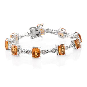 Dan's Collector Deal Brazilian Citrine, White Topaz Platinum Over Sterling Silver Bracelet (7.25 In) TGW 19.94 cts.