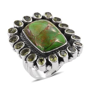 Artisan Crafted Mojave Green Turquoise, Hebei Peridot Sterling Silver Ring (Size 6.0) TGW 17.54 cts.