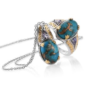 TLV Mojave Blue Turquoise, Catalina Iolite 14K YG and Platinum Over Sterling Silver Ring (Size 7) and Pendant With Chain (20 in) TGW 13.00 cts.