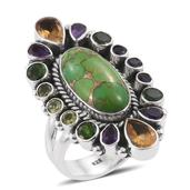 Artisan Crafted Mojave Green Turquoise, Multi Gemstone Sterling Silver Elongated Ring (Size 6.0) TGW 15.77 cts.
