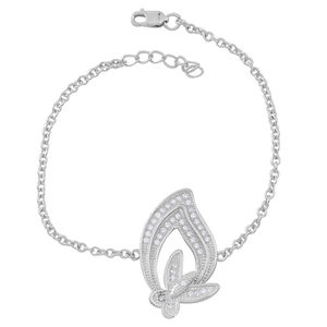 Simulated White Diamond Sterling Silver Calla Lily Bracelet (6.25-7.50In) TGW 0.40 cts.