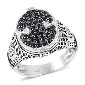 Thai Black Spinel Black Rhodium Sterling Silver Men's Ring (Size 11.0) TGW 1.25 cts.