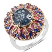 Indicolita Quartz, Orissa Rhodolite Garnet, Enameled 14K YG and Platinum Over Sterling Silver Ring (Size 10.0) TGW 6.48 cts.