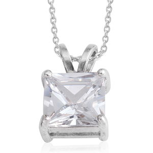 Simulated Diamond Silvertone Pendant With Chain (18 in) TGW 7.01 cts.