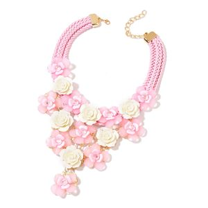 Pink and White Chroma, Pink Glass Goldtone Floral Statement Necklace (18-20 in)