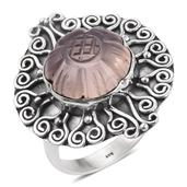 Artisan Crafted Carved Galilea Rose Quartz Sterling Silver Ring (Size 10.0) TGW 10.94 cts.