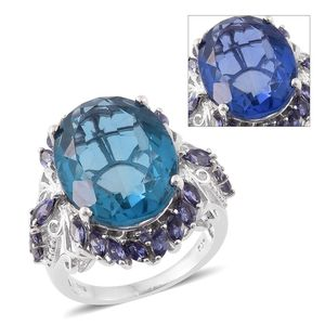 Color Change Fluorite, Catalina Iolite Platinum Over Sterling Silver Ring (Size 9.0) TGW 23.25 cts.