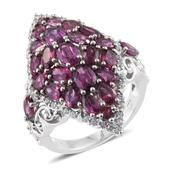 Mega Clearance Mahenge Umbalite, Cambodian Zircon Platinum Over Sterling Silver Ring (Size 5.0) TGW 8.42 cts.