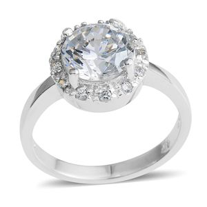Simulated Diamond Silvertone Halo Ring (Size 9.0) TGW 5.16 cts.