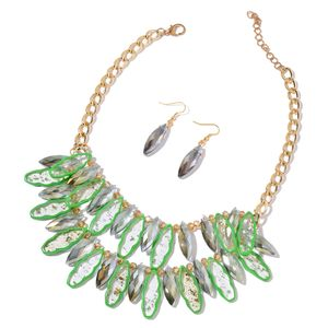 Green Glass, Chroma Goldtone Dangle Earrings and Bib Necklace (20 in)