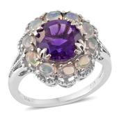 Lusaka Amethyst, Ethiopian Welo Opal Platinum Over Sterling Silver Ring (Size 10.0) TGW 4.45 cts.