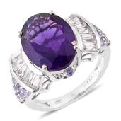 Lusaka Amethyst, White Topaz, Tanzanite Platinum Over Sterling Silver Ring (Size 7.0) TGW 11.25 cts.