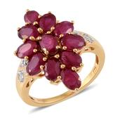 Niassa Ruby, Cambodian Zircon 14K YG Over Sterling Silver Ring (Size 6.0) TGW 6.77 cts.