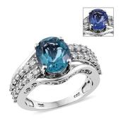 Color Change Fluorite, Cambodian Zircon Platinum Over Sterling Silver Ring (Size 10.0) TGW 5.85 cts.