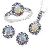 Srikant's Showstopper Ethiopian Welo Opal, Tanzanite Platinum Over Sterling Silver Earrings, Ring (Size 7) and Pendant With Chain (20 in) TGW 4.66 cts.