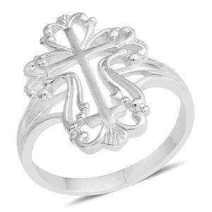 Silvertone Openwork Cross Ring (Size 6.5)