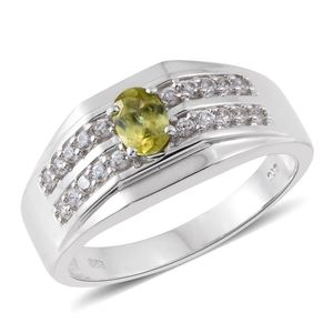 Madagascar Sphene, Cambodian Zircon Platinum Over Sterling Silver Men's Ring (Size 12.0) TGW 1.10 cts.