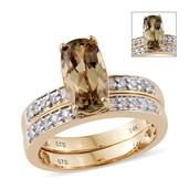 14K YG Turkizite, Diamond Ring Set (Size 7.0) TDiaWt 0.29 cts, TGW 3.04 cts.