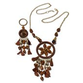 Handcrafted Brown Chroma Dream Catcher Goldtone Necklace (30 in) and Matching Keychain